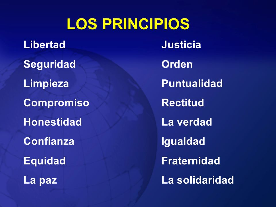 LOS PRINCIPIOS LibertadJusticia Seguridad Orden LimpiezaPuntualidad CompromisoRectitud HonestidadLa verdad ConfianzaIgualdad EquidadFraternidad La paz