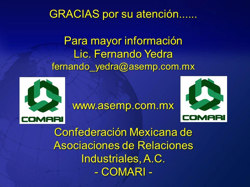 GRACIAS por su atención...... Para mayor información Lic. Fernando Yedra fernando_yedra@asemp.com.mx www.asemp.com.mx www.asemp.com.mx Confederación M