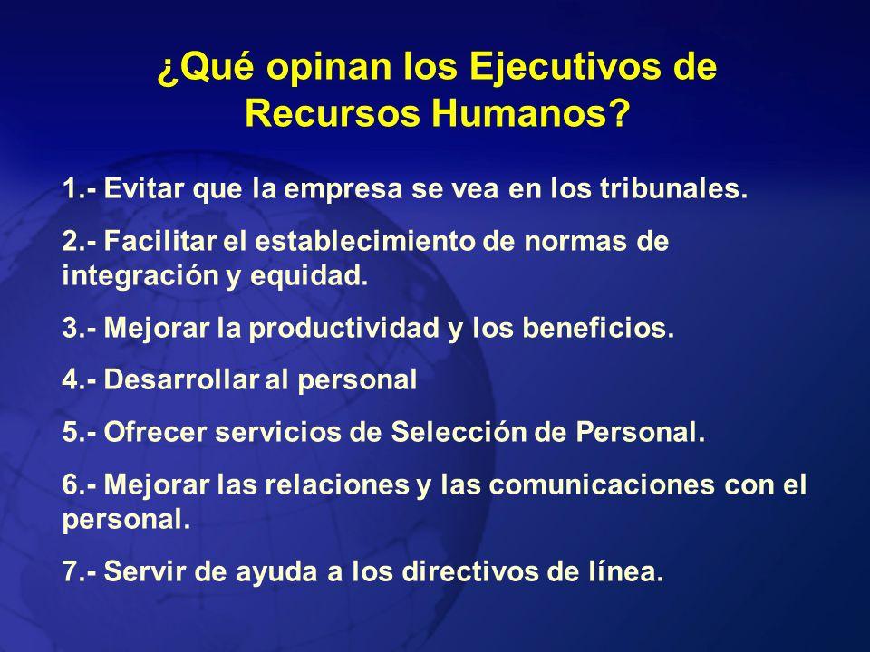 ¿Qué opinan los Ejecutivos de Recursos Humanos? 1.- Evitar que la empresa se vea en los tribunales. 2.- Facilitar el establecimiento de normas de inte