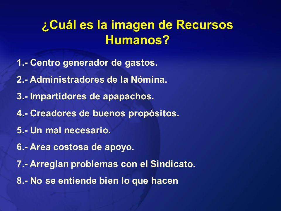 ¿Cuál es la imagen de Recursos Humanos? 1.- Centro generador de gastos. 2.- Administradores de la Nómina. 3.- Impartidores de apapachos. 4.- Creadores