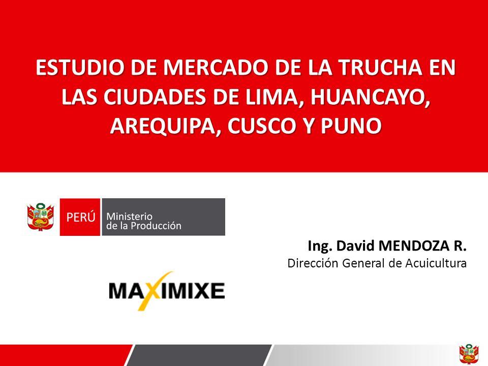 ESTUDIO DE MERCADO DE LA TRUCHA EN LAS CIUDADES DE LIMA, HUANCAYO, AREQUIPA, CUSCO Y PUNO Ing. David MENDOZA R. Dirección General de Acuicultura