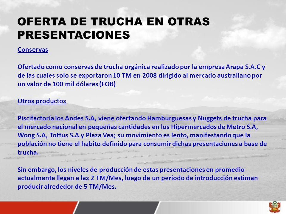 OFERTA DE TRUCHA EN OTRAS PRESENTACIONES Conservas Ofertado como conservas de trucha orgánica realizado por la empresa Arapa S.A.C y de las cuales solo se exportaron 10 TM en 2008 dirigido al mercado australiano por un valor de 100 mil dólares (FOB) Otros productos Piscifactoría los Andes S.A, viene ofertando Hamburguesas y Nuggets de trucha para el mercado nacional en pequeñas cantidades en los Hipermercados de Metro S.A, Wong S.A, Tottus S.A y Plaza Vea; su movimiento es lento, manifestando que la población no tiene el habito definido para consumir dichas presentaciones a base de trucha.