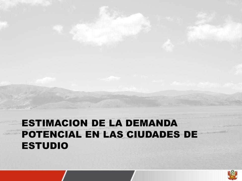 ESTIMACION DE LA DEMANDA POTENCIAL EN LAS CIUDADES DE ESTUDIO