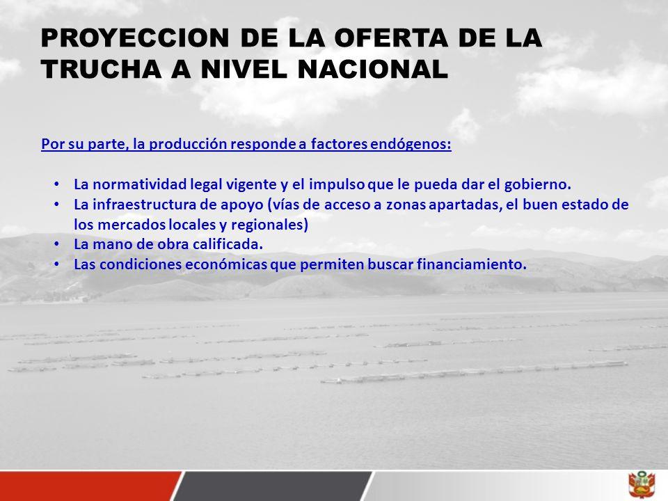 PROYECCION DE LA OFERTA DE LA TRUCHA A NIVEL NACIONAL Por su parte, la producción responde a factores endógenos: La normatividad legal vigente y el impulso que le pueda dar el gobierno.