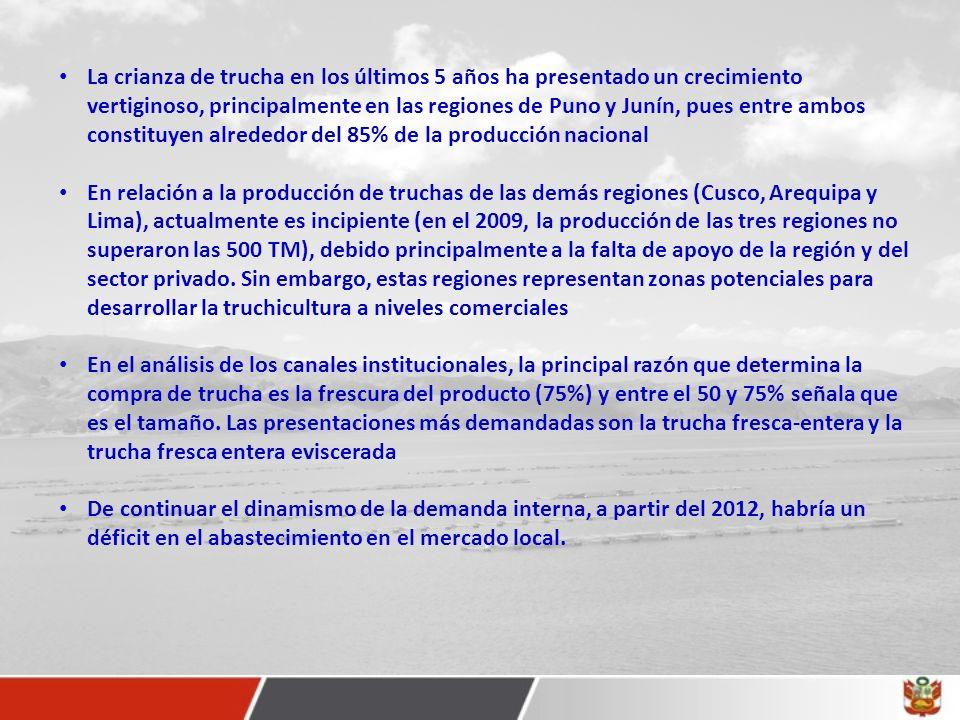 La crianza de trucha en los últimos 5 años ha presentado un crecimiento vertiginoso, principalmente en las regiones de Puno y Junín, pues entre ambos constituyen alrededor del 85% de la producción nacional En relación a la producción de truchas de las demás regiones (Cusco, Arequipa y Lima), actualmente es incipiente (en el 2009, la producción de las tres regiones no superaron las 500 TM), debido principalmente a la falta de apoyo de la región y del sector privado.