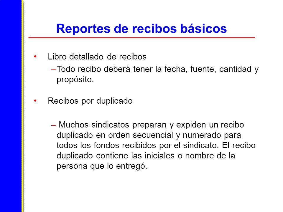 Reportes de recibos básicos Libro detallado de recibos –Todo recibo deberá tener la fecha, fuente, cantidad y propósito.
