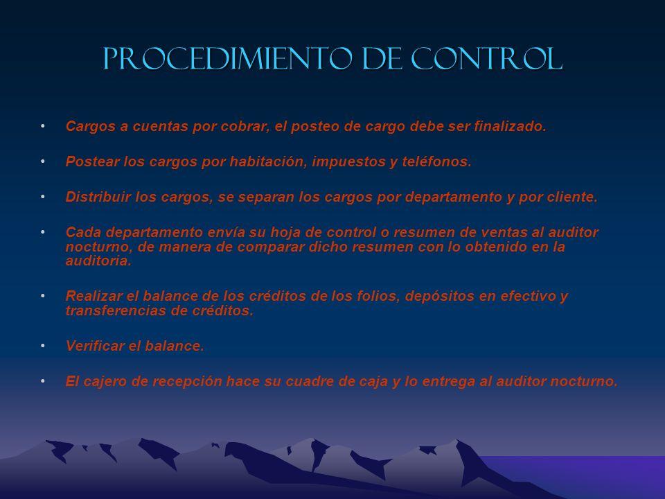 Actividades involucradas de la auditoria nocturna Procedimiento de control Revisión contable de las operaciones Reporte de las actividades de los caje