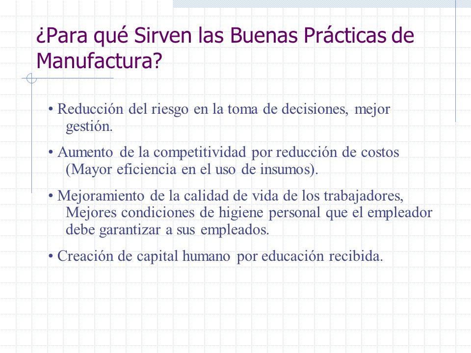 ¿Para qué Sirven las Buenas Prácticas de Manufactura? Mejorar la productividad a Mediano y Largo Plazo, ya que algunos de sus componentes mejoran el c
