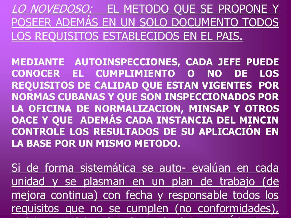 LO NOVEDOSO: EL METODO QUE SE PROPONE Y POSEER ADEMÁS EN UN SOLO DOCUMENTO TODOS LOS REQUISITOS ESTABLECIDOS EN EL PAIS. MEDIANTE AUTOINSPECCIONES, CA