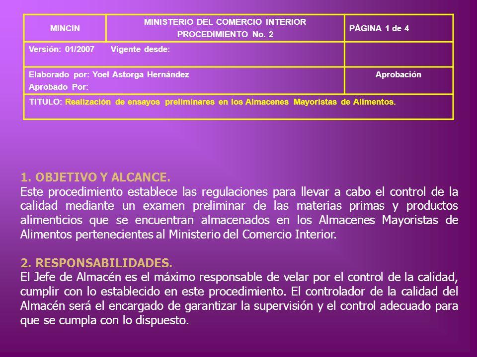 MINCIN MINISTERIO DEL COMERCIO INTERIOR PROCEDIMIENTO No. 2 PÁGINA 1 de 4 Versión: 01/2007Vigente desde: Elaborado por: Yoel Astorga Hernández Aprobad