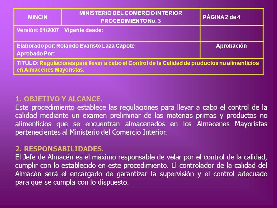MINCIN MINISTERIO DEL COMERCIO INTERIOR PROCEDIMIENTO No. 3 PÁGINA 2 de 4 Versión: 01/2007Vigente desde: Elaborado por: Rolando Evaristo Laza Capote A