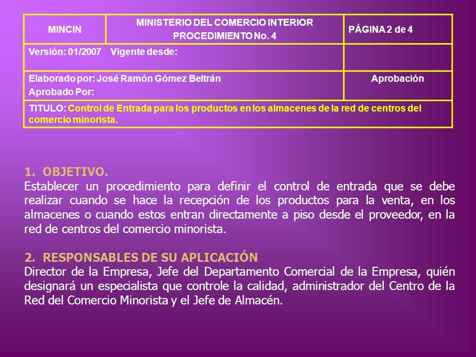 MINCIN MINISTERIO DEL COMERCIO INTERIOR PROCEDIMIENTO No. 4 PÁGINA 2 de 4 Versión: 01/2007Vigente desde: Elaborado por: José Ramón Gómez Beltrán Aprob