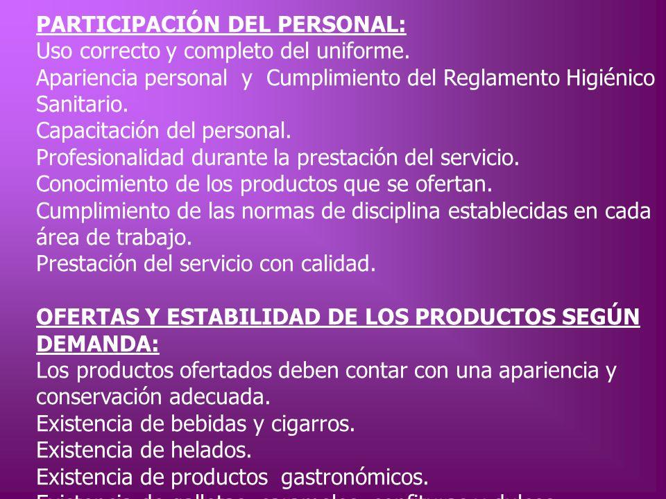 PARTICIPACIÓN DEL PERSONAL: Uso correcto y completo del uniforme. Apariencia personal y Cumplimiento del Reglamento Higiénico Sanitario. Capacitación