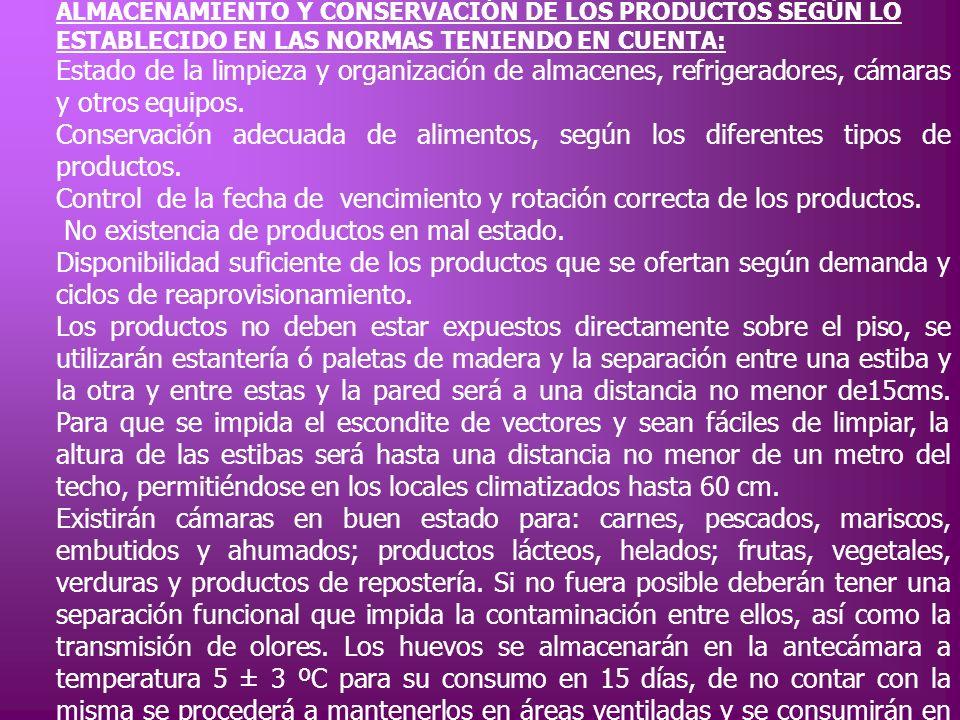 ALMACENAMIENTO Y CONSERVACIÓN DE LOS PRODUCTOS SEGÚN LO ESTABLECIDO EN LAS NORMAS TENIENDO EN CUENTA: Estado de la limpieza y organización de almacene