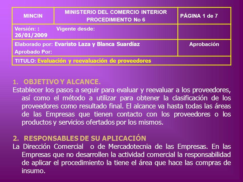MINCIN MINISTERIO DEL COMERCIO INTERIOR PROCEDIMIENTO No 6 PÁGINA 1 de 7 Versión: : 26/01/2009 Vigente desde: Elaborado por: Evaristo Laza y Blanca Su