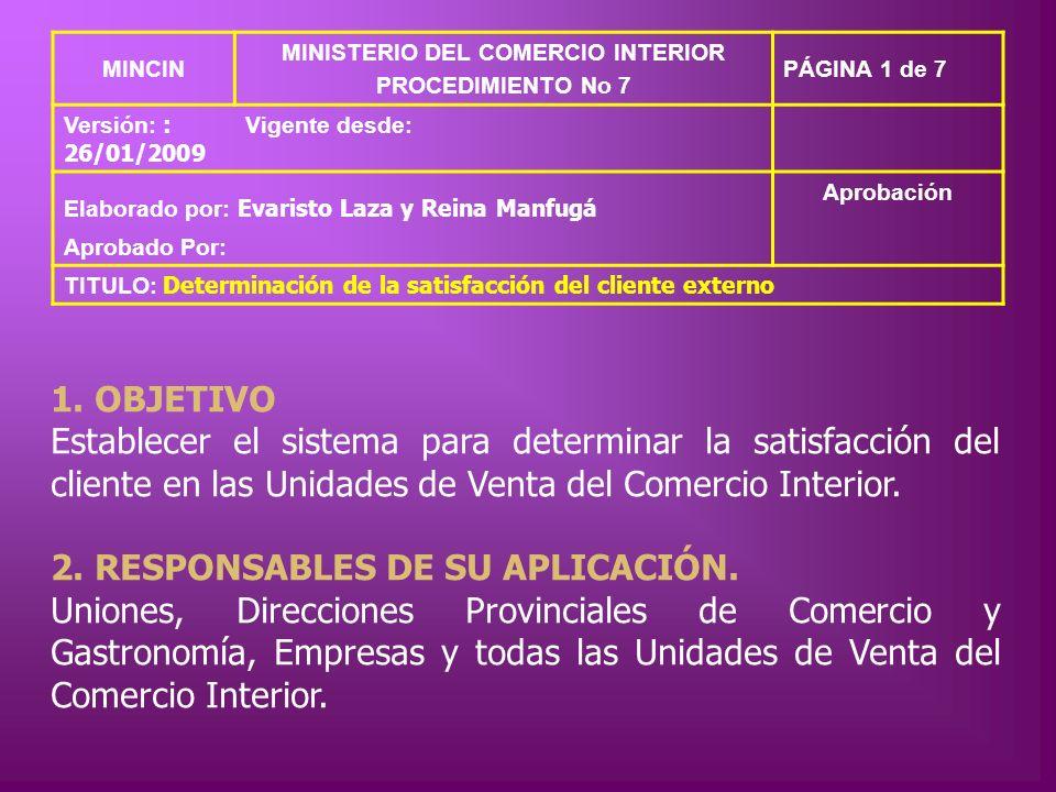 MINCIN MINISTERIO DEL COMERCIO INTERIOR PROCEDIMIENTO No 7 PÁGINA 1 de 7 Versión: : 26/01/2009 Vigente desde: Elaborado por: Evaristo Laza y Reina Man