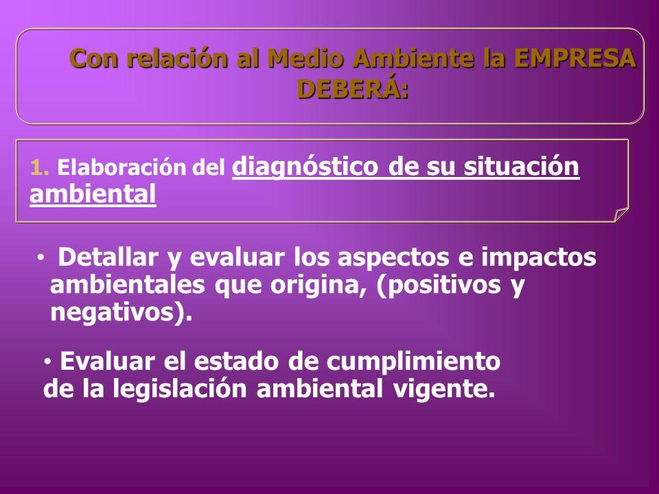 Con relación al Medio Ambiente la EMPRESA DEBERÁ: 1. Elaboración del diagnóstico de su situación ambiental Detallar y evaluar los aspectos e impactos