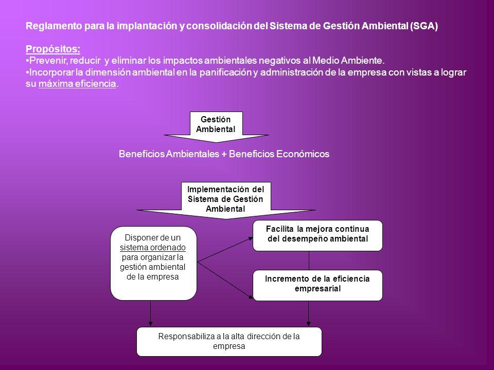 Gestión Ambiental Implementación del Sistema de Gestión Ambiental Disponer de un sistema ordenado para organizar la gestión ambiental de la empresa Fa