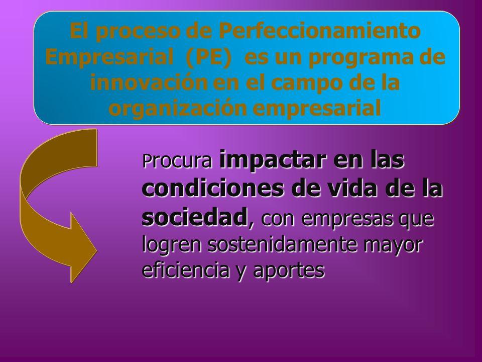 El proceso de Perfeccionamiento Empresarial (PE) es un programa de innovación en el campo de la organización empresarial P rocura impactar en las cond
