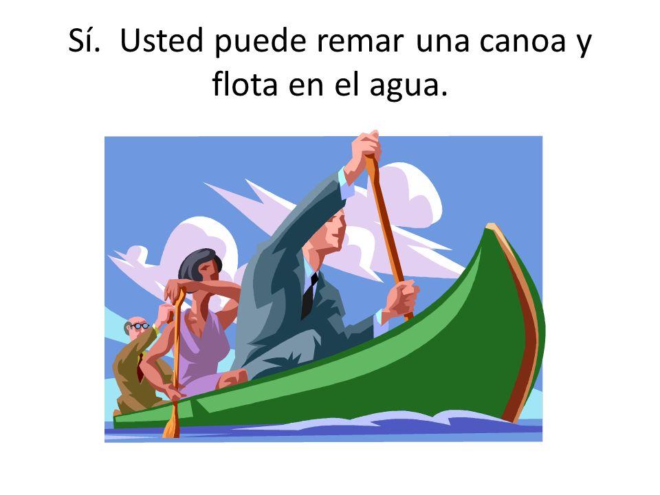 ¿Qué cuadro demuestra a algo que puedes remar y flota en el agua?