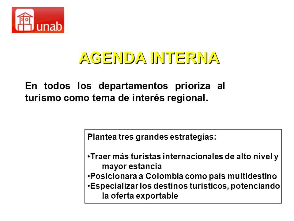 En todos los departamentos prioriza al turismo como tema de interés regional. AGENDA INTERNA Plantea tres grandes estrategias: Traer más turistas inte