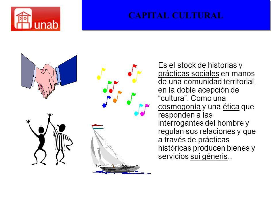 CAPITAL CULTURAL Es el stock de historias y prácticas sociales en manos de una comunidad territorial, en la doble acepción de cultura. Como una cosmog