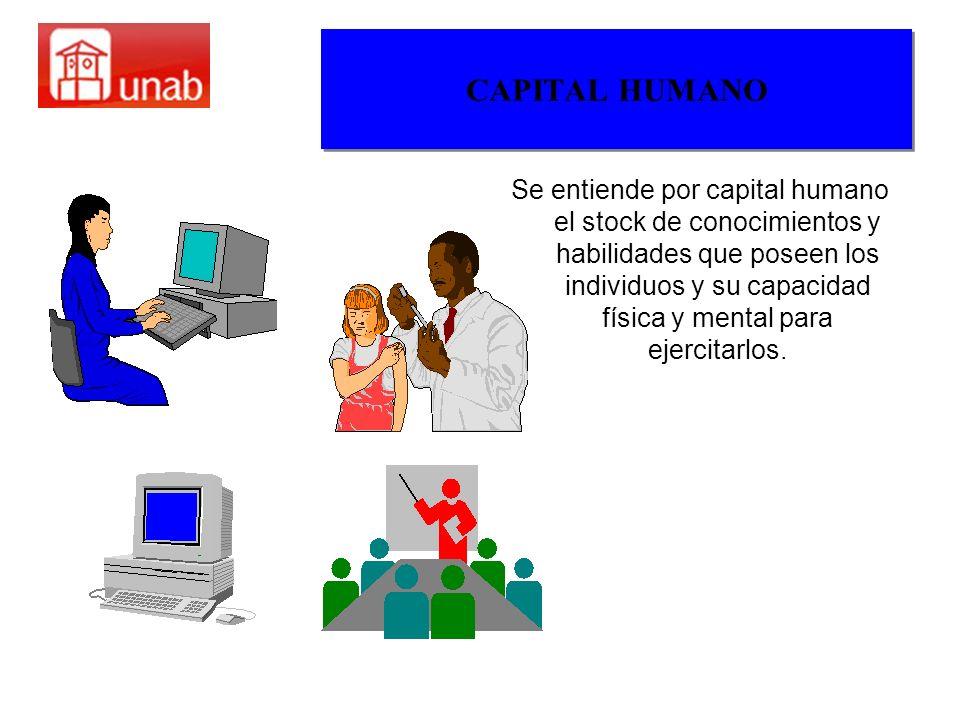 CAPITAL HUMANO Se entiende por capital humano el stock de conocimientos y habilidades que poseen los individuos y su capacidad física y mental para ej