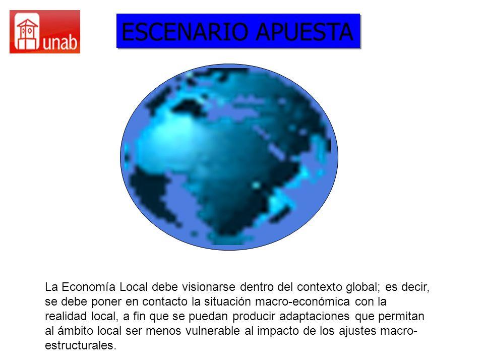 GLOBALIZACION, COMPETITIVIDAD DESARROLLO Y TICS ESCENARIO APUESTA El desarrollo local no tiene porqué contradecir a la internacionalización de la Economía, al desarrollar una base local es posible que esta colabore tanto con el nivel nacional como con el internacional, aportando formas innovadoras.