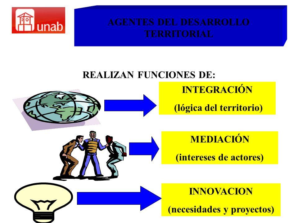 AGENTES DEL DESARROLLO TERRITORIAL REALIZAN FUNCIONES DE: INTEGRACIÓN (lógica del territorio) MEDIACIÓN (intereses de actores) INNOVACION (necesidades