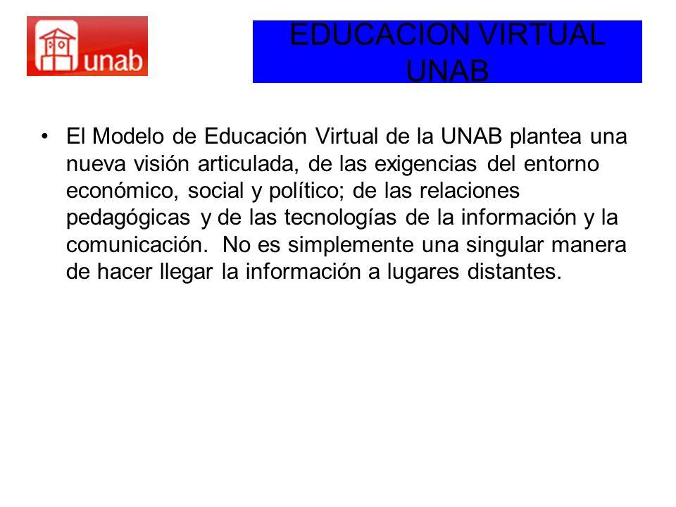 EDUCACION VIRTUAL UNAB El Modelo de Educación Virtual de la UNAB plantea una nueva visión articulada, de las exigencias del entorno económico, social