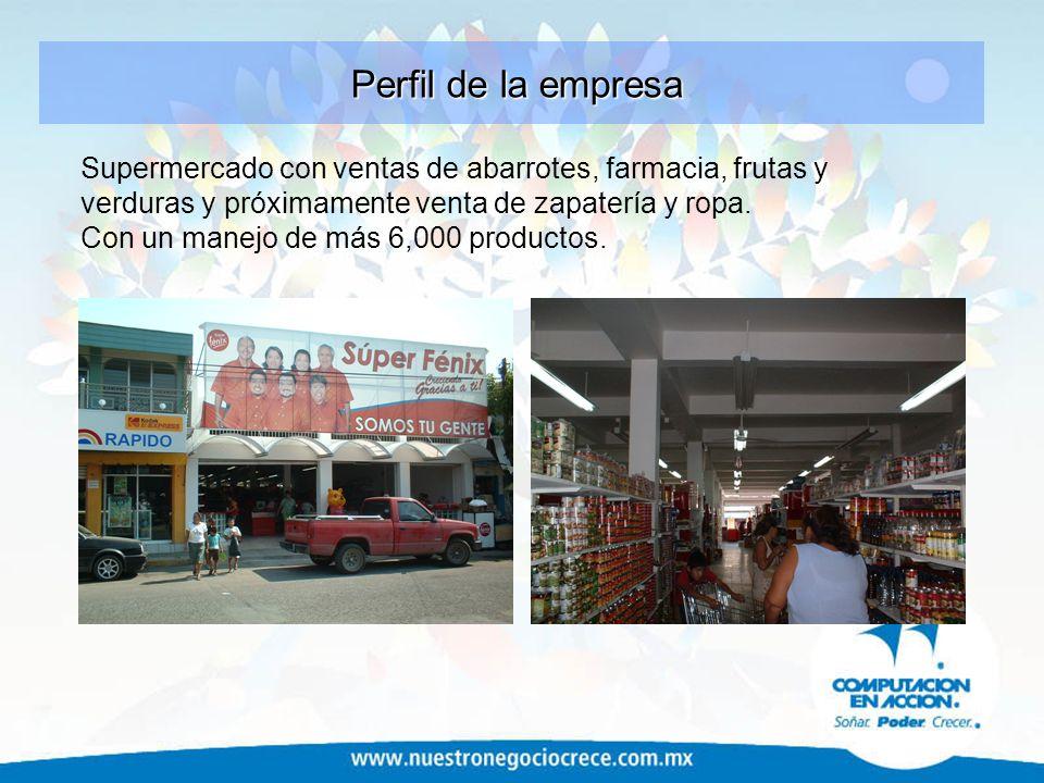 Supermercado con ventas de abarrotes, farmacia, frutas y verduras y próximamente venta de zapatería y ropa. Con un manejo de más 6,000 productos. Perf