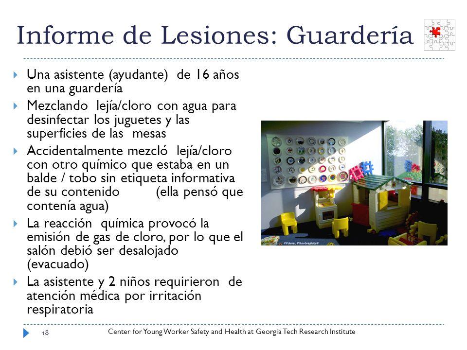 Center for Young Worker Safety and Health at Georgia Tech Research Institute Informe de Lesiones: Guardería Una asistente (ayudante) de 16 años en una
