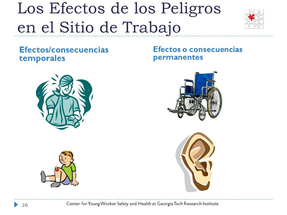 Center for Young Worker Safety and Health at Georgia Tech Research Institute Los Efectos de los Peligros en el Sitio de Trabajo Efectos/consecuencias