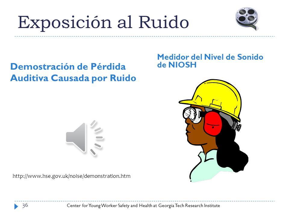 Center for Young Worker Safety and Health at Georgia Tech Research Institute Exposición al Ruido Demostración de Pérdida Auditiva Causada por Ruido Me