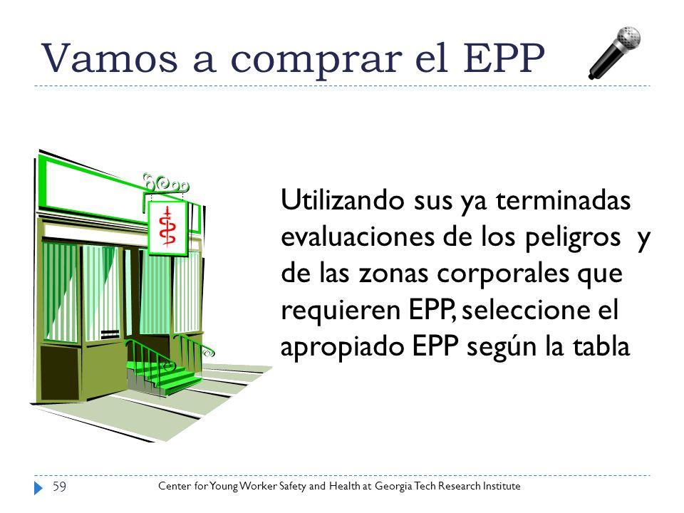 Center for Young Worker Safety and Health at Georgia Tech Research Institute Vamos a comprar el EPP 59 Utilizando sus ya terminadas evaluaciones de lo