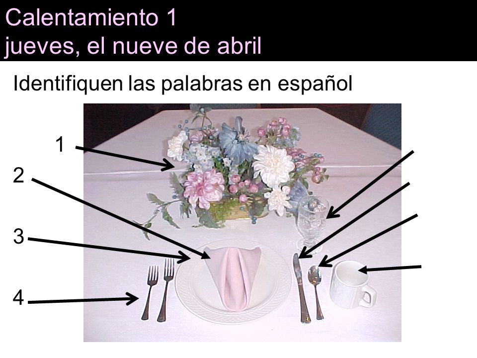 Calentamiento 1 jueves, el nueve de abril Identifiquen las palabras en español 1 5 2 6 7 3 8 4