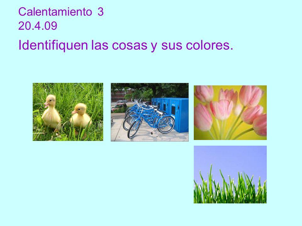 Calentamiento 3 20.4.09 Identifiquen las cosas y sus colores.