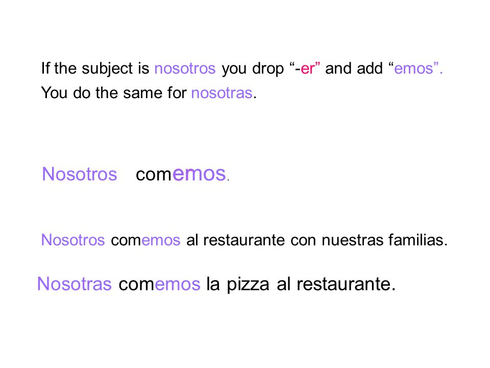 If the subject is nosotros you drop -er and add emos. Nosotroscom eremos. You do the same for nosotras. Nosotros comemos al restaurante con nuestras f