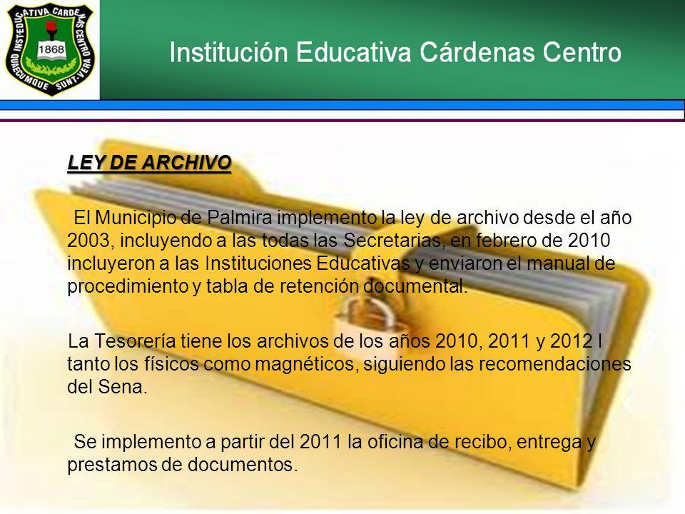 LEY DE ARCHIVO El Municipio de Palmira implemento la ley de archivo desde el año 2003, incluyendo a las todas las Secretarias, en febrero de 2010 incl