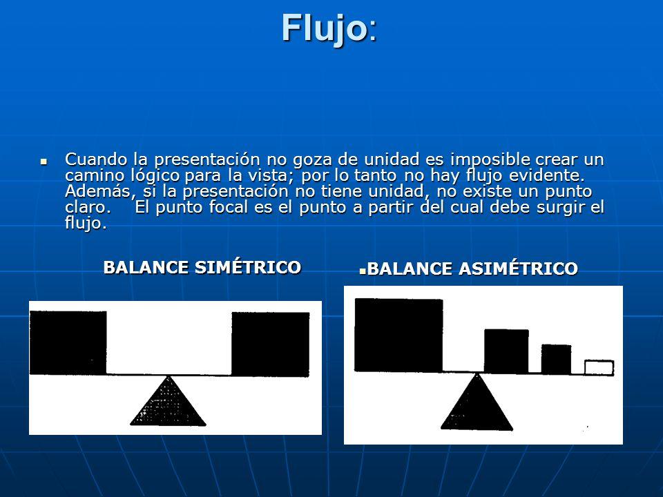Flujo: Cuando la presentación no goza de unidad es imposible crear un camino lógico para la vista; por lo tanto no hay flujo evidente. Además, si la p