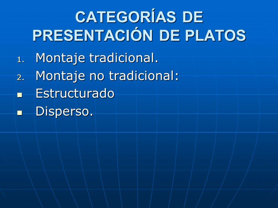 CATEGORÍAS DE PRESENTACIÓN DE PLATOS 1. Montaje tradicional. 2. Montaje no tradicional: Estructurado Estructurado Disperso. Disperso.