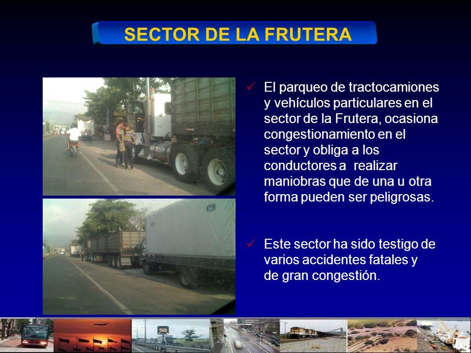 SECTOR DE LA FRUTERA El parqueo de tractocamiones y vehículos particulares en el sector de la Frutera, ocasiona congestionamiento en el sector y oblig