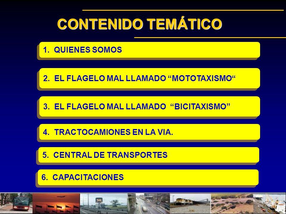 CONTENIDO TEMÁTICO 4. TRACTOCAMIONES EN LA VIA. 2. EL FLAGELO MAL LLAMADO MOTOTAXISMO 3. EL FLAGELO MAL LLAMADO BICITAXISMO 1. QUIENES SOMOS 5. CENTRA