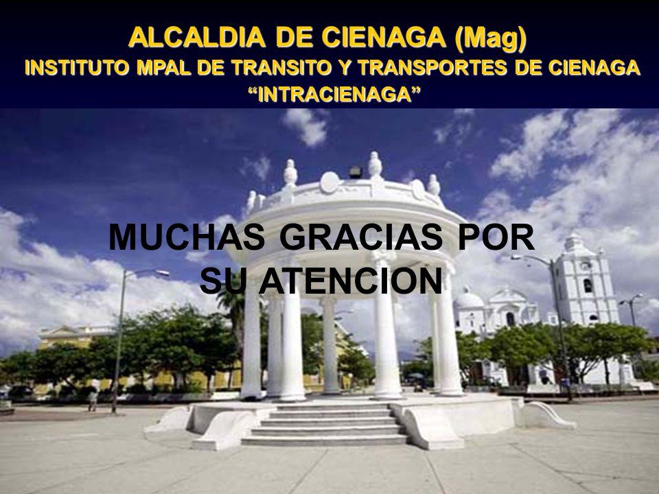 MUCHAS GRACIAS POR SU ATENCION ALCALDIA DE CIENAGA (Mag) INSTITUTO MPAL DE TRANSITO Y TRANSPORTES DE CIENAGA INTRACIENAGA INTRACIENAGA MUCHAS GRACIAS POR SU ATENCION