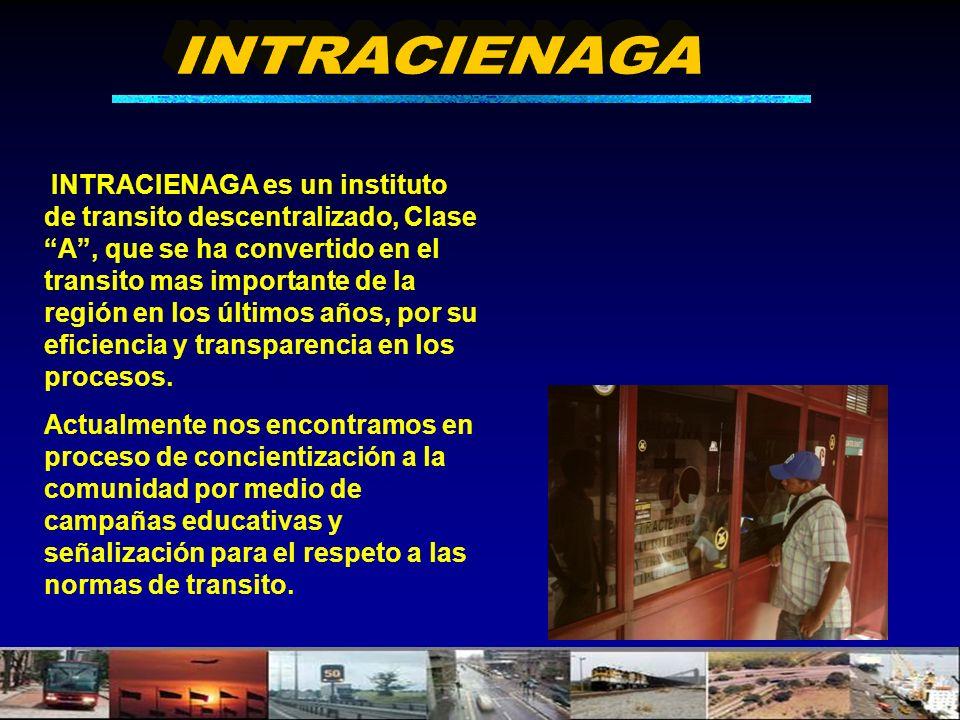 INTRACIENAGA es un instituto de transito descentralizado, Clase A, que se ha convertido en el transito mas importante de la región en los últimos años, por su eficiencia y transparencia en los procesos.