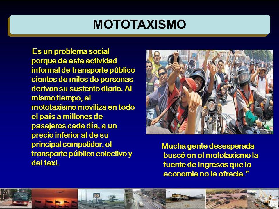 MOTOTAXISMO Es un problema social porque de esta actividad informal de transporte p ú blico cientos de miles de personas derivan su sustento diario. A