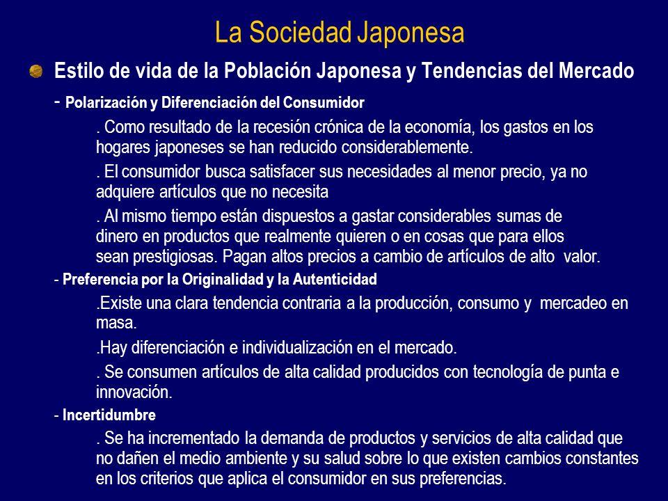 La Sociedad Japonesa Estilo de vida de la Población Japonesa y Tendencias del Mercado - Polarización y Diferenciación del Consumidor.