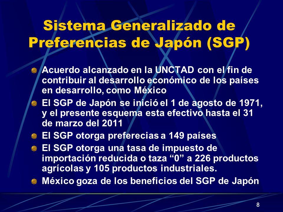8 Sistema Generalizado de Preferencias de Japón (SGP) Acuerdo alcanzado en la UNCTAD con el fin de contribuir al desarrollo económico de los países en desarrollo, como México El SGP de Japón se inició el 1 de agosto de 1971, y el presente esquema esta efectivo hasta el 31 de marzo del 2011 El SGP otorga preferecias a 149 países El SGP otorga una tasa de impuesto de importación reducida o taza 0 a 226 productos agrícolas y 105 productos industriales.