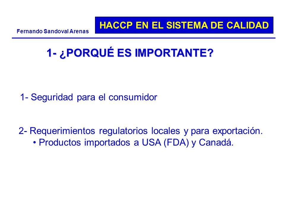 HACCP EN EL SISTEMA DE CALIDAD Fernando Sandoval Arenas 1- ¿PORQUÉ ES IMPORTANTE? 1- Seguridad para el consumidor 2- Requerimientos regulatorios local