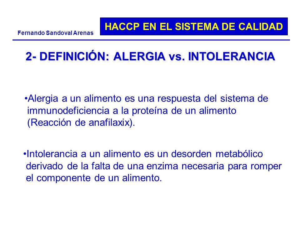 HACCP EN EL SISTEMA DE CALIDAD Fernando Sandoval Arenas 2- DEFINICIÓN: ALERGIA vs. INTOLERANCIA Alergia a un alimento es una respuesta del sistema de